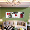 3pcs Rose Printing Canvas Wall Decoration - MULTI