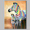 YHHP Abstract Hand Painted Two Zebras Oil Painting - COLORMIX