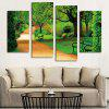 4PCS Printed Tree Bench Road Scenery Canvas Print - MULTI