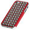 Pointed Nail Self-defense Plastic and PU Leather Case with Electroplating Edge for iPhone 5 - Red - RED