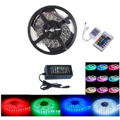 OMTO Light Strip DC 12V Ul Listed Power Supply 5M/16.4 Ft 60 LED S/M SMD 5050 RGB 300 Color Changing Kit with Flexible with 24 Key Ir Controller Bedroom Sitting Room