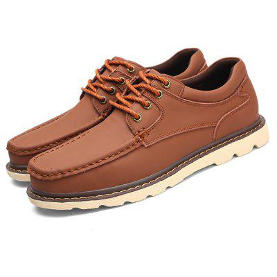 Men Stylish Lace-up Solid Color Leather Casual Shoes