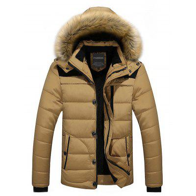 Khaki Classic Padded Winter Jacket with Hood L-$48.21 Online ...