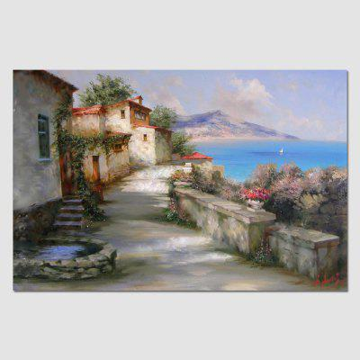 HuaTuo Hand Painted Modern Small Village Canvas Home Decor Framed Oil Painting