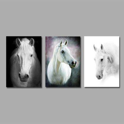 Colourful White Horses Wall Decor Print for Home Decoration