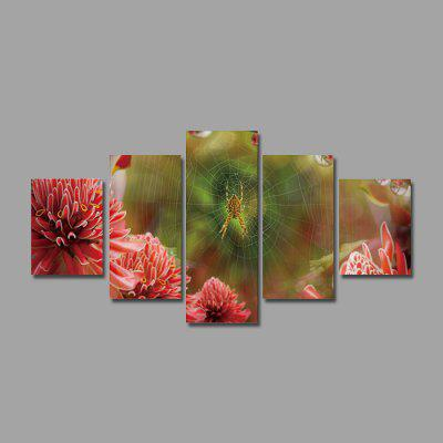 Spider with Flowers Print Unframed Canvas Art Painting 5PCS