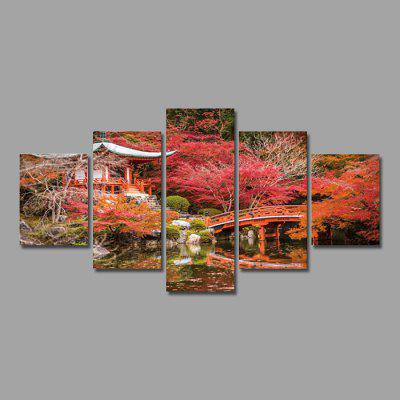 Maple Pavilion Print Modern Unframed Decorative Canvas Wall Art Painting 5PCS