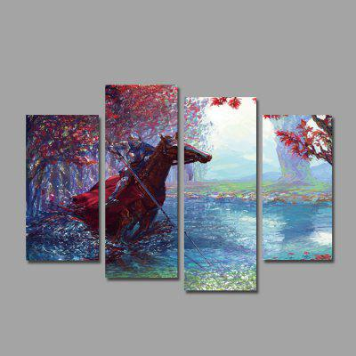 Horse + Knight Print Modern Unframed Canvas Painting 4PCS