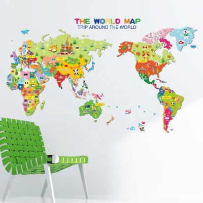 LAIMA QT0377 Cartoon Animal World Map Wall Sticker