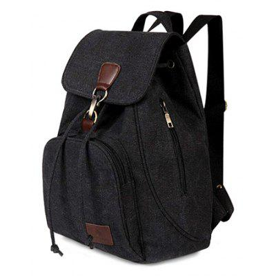 Buy BLACK Vintage Style Solid Color Backpack Schoolbag for Girls for $18.50 in GearBest store