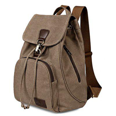 Buy KHAKI Vintage Style Solid Color Backpack Schoolbag for Girls for $18.50 in GearBest store