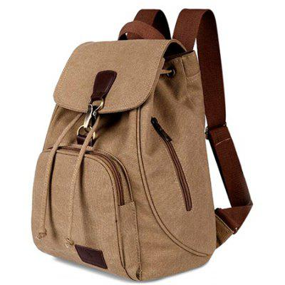 Buy LIGHT COFFEE Vintage Style Solid Color Backpack Schoolbag for Girls for $18.50 in GearBest store