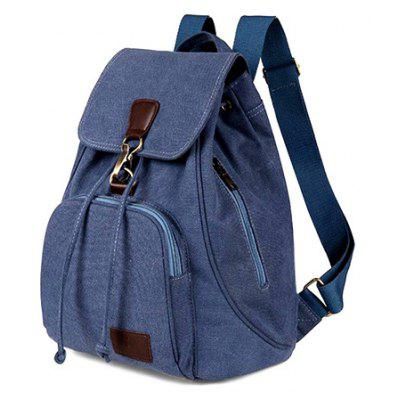 Buy BLUE Vintage Style Solid Color Backpack Schoolbag for Girls for $18.50 in GearBest store