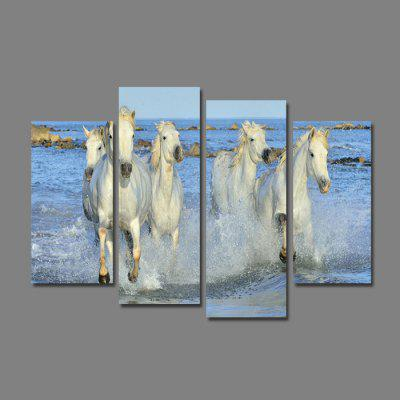 Buy God Painting Five White Horses Printed Canvas Print 4PCS, COLORMIX, Home & Garden, Home Decors, Wall Art, Prints for $12.68 in GearBest store