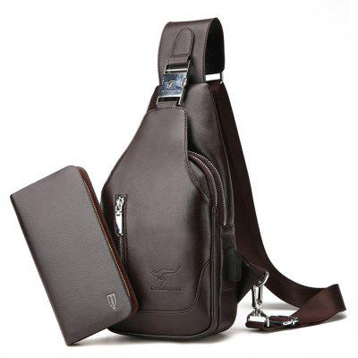Buy BROWN Men Simple Solid Color PU Shoulder Bag with Wallet for $32.29 in GearBest store