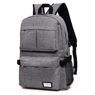 5f59dca5c4 ... Men Simple Solid Color Canvas Backpack with USB Port  Bokinslon Women  ...