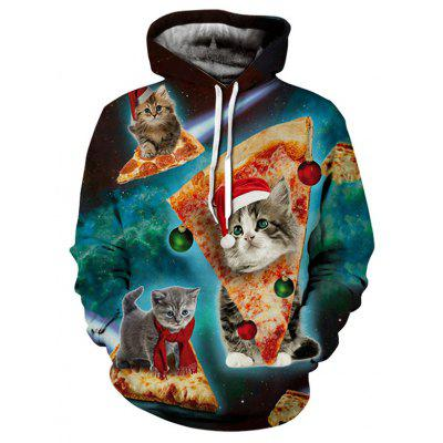 Unique Cute Fashion 3D Cat Printing Comfort Male Hoodie