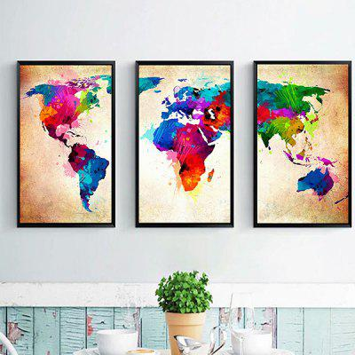 World Map Home Decoration Canvas Painting 3PCS