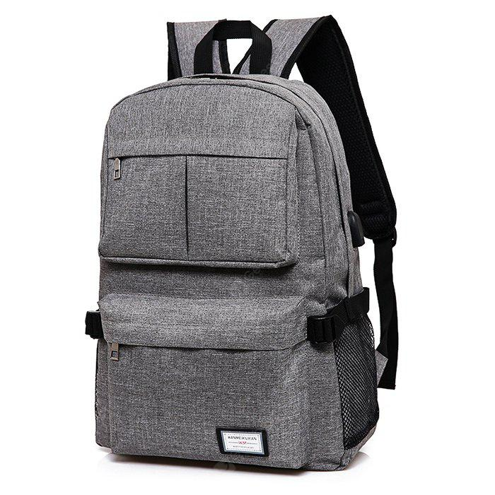 Men Simple Solid Color Canvas Backpack with USB Port