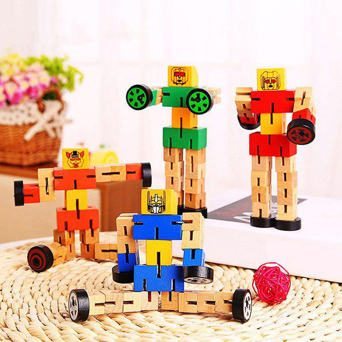 Creative Magic Cube Style Wooden Robot Toy 1PC for Kids