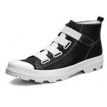 Male Trendy All-matched High Top Casual Leather Shoes - BLACK