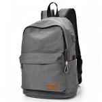 Men Leisure Durable Canvas Backpack with USB Port - GRAY