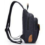 Men Leisure Durable Multifunctional Canvas Backpack - BLACK