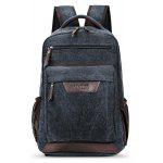 Men Durable Multifunctional Canvas Backpack - BLACK