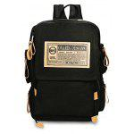 Men Fashion Printed Canvas Backpack - BLACK