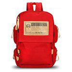 Men Fashion Printed Canvas Backpack - RED