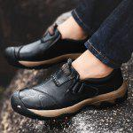 Outdoor Casual Slip-on Genuine Leather Sneakers for Men - BLACK
