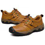 Plus Size Lace-up Outdoor Genuine Leather Sneakers for Men - CITRUS