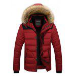 Classic Padded Winter Jacket with Hood - RED