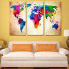 World Map Home Decoration Canvas Painting 3PCS - COLORFUL