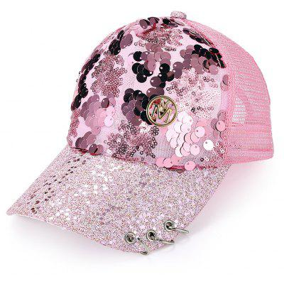 Female Mesh Leisure Sun Hat Baseball Cap with Metal Sequin