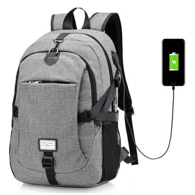 Gearbest Men Casual Durable Canvas Backpack with USB Port
