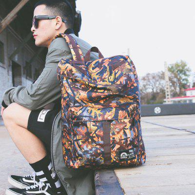 Buy KHAKI Men Trendy Printed Nylon Backpack for $17.51 in GearBest store