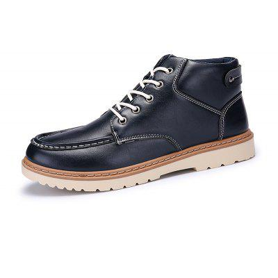 Men Stylish Stitching Casual Lace-up Ankle Boots