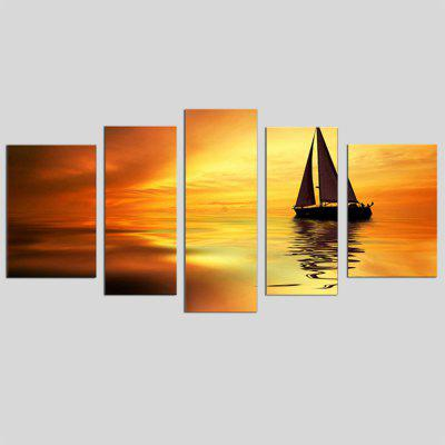 Buy COLORMIX JOY ART Stretched Print Sunset A Boat on Sea Seascape for $52.10 in GearBest store