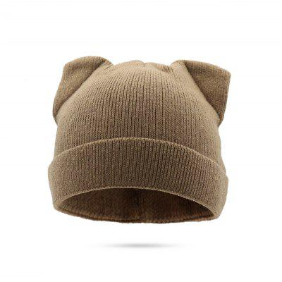 Mulheres Bonito Handcrafted Knitted Hat with Cat Ears Shape