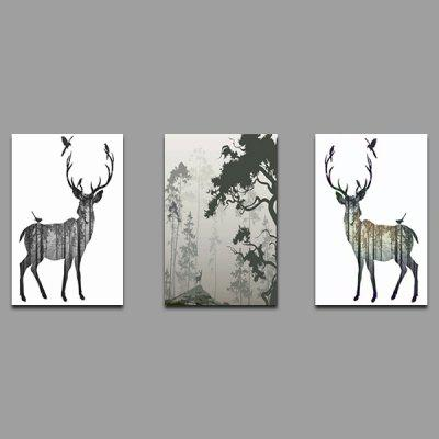 Colorful Unframed Modern Prints Elk Wall Art 3PCS