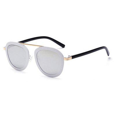 Buy REFLECTIVE WHITE COLOR Flower Horse X1313 Wide Frame Unisex Sunglasses for $8.29 in GearBest store