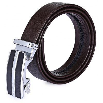 Male Full Real Leather Automatic Alloy Buckle Trouser Belt