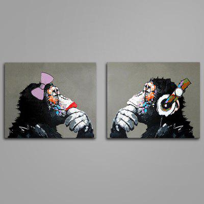 NO1 Stretched Oil Painting Monkey Music Art
