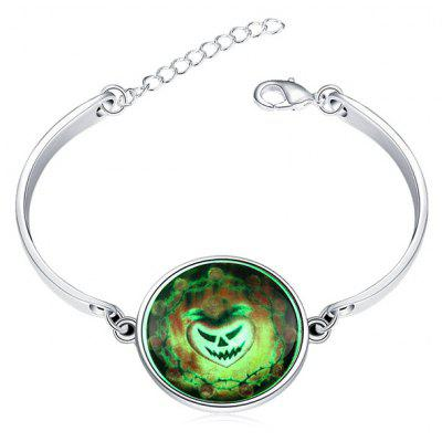 Copper Plated Silver Halloween Pumpkin Lantern Luminous Women Bracelet