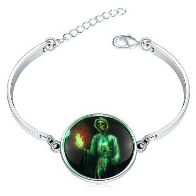 Copper Plated Silver Halloween Skull Torch Luminous Women Bracelet