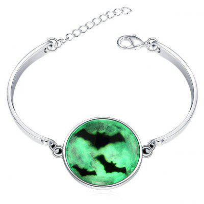 Copper Plated Silver Halloween Night Sky Bat Luminous Women Bracelet