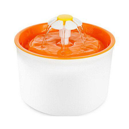 Buy Flower Style Automatic Water Filter Pet Drinking Fountain US ORANGE YELLOW