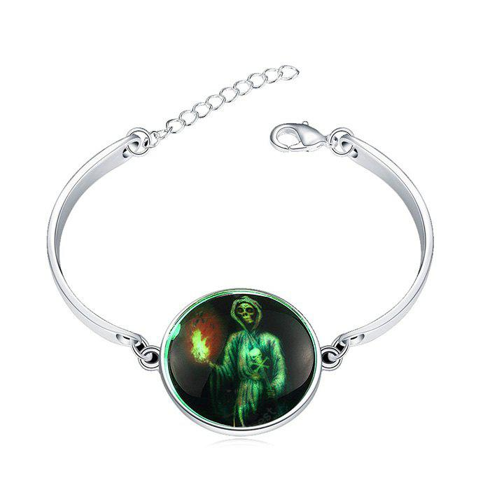 Copper Plated Silver Halloween Skull Torch Bracelet