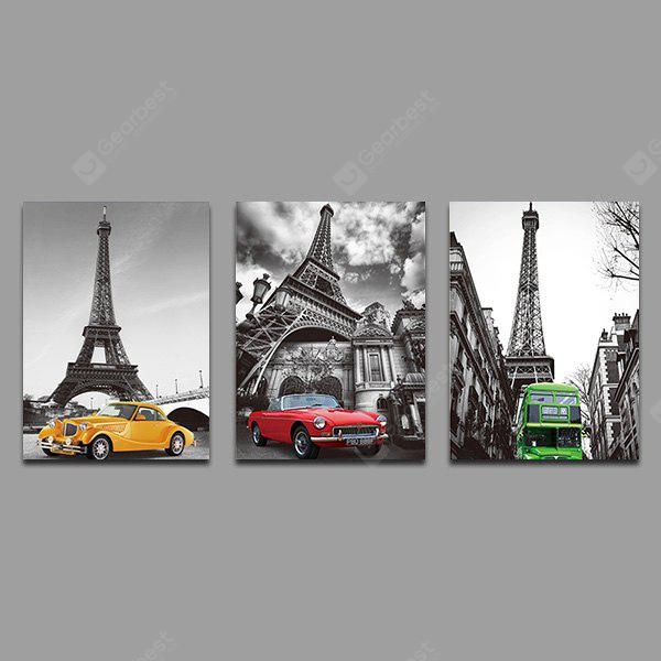 Colorful Unframed Prints Street Building Wall Art 3PCS